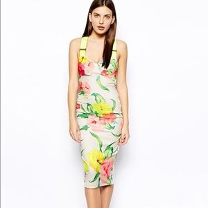 Ted Baker London Taylar High Tea Dress Neon Straps